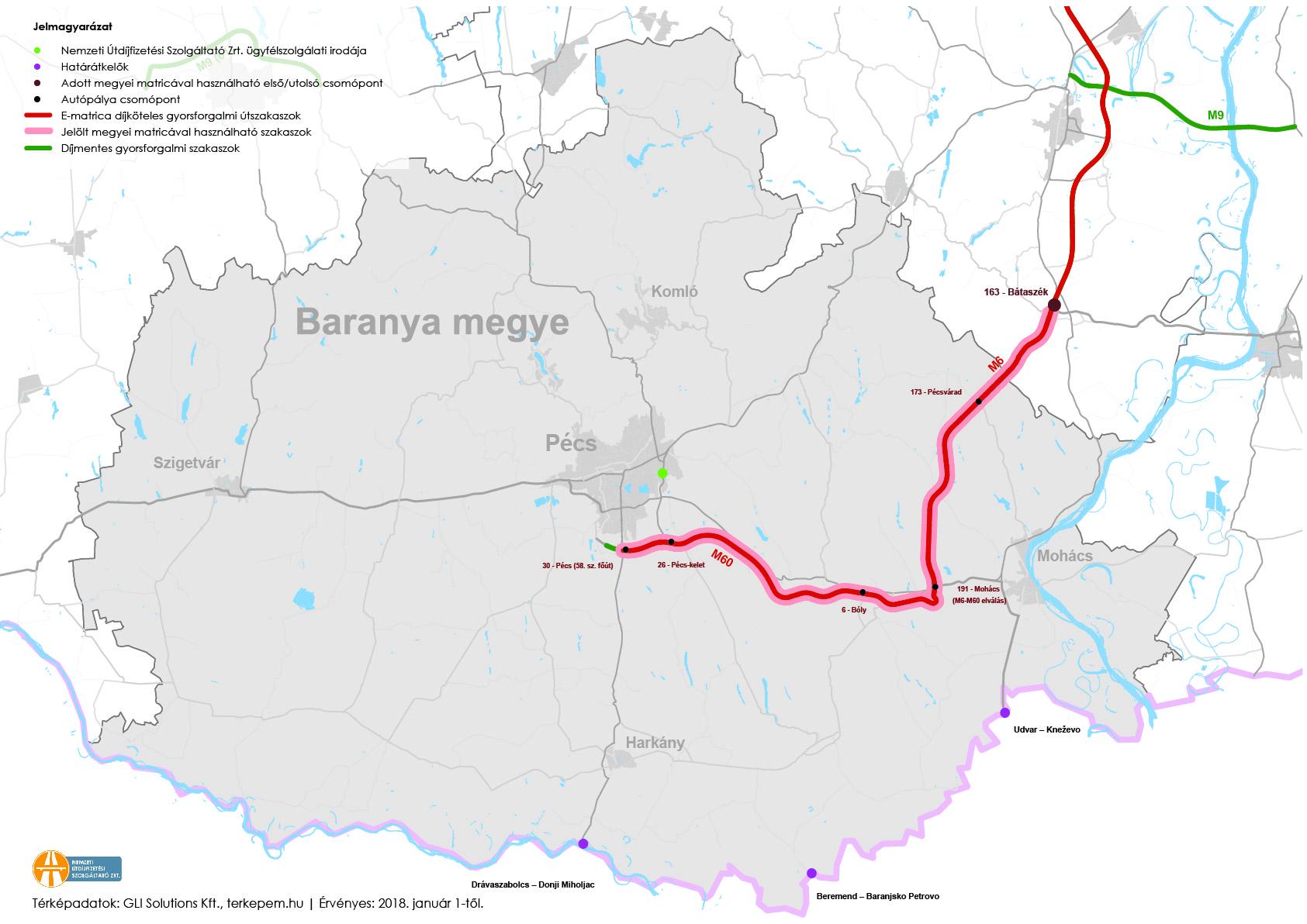 Baranya megye fizetős utak