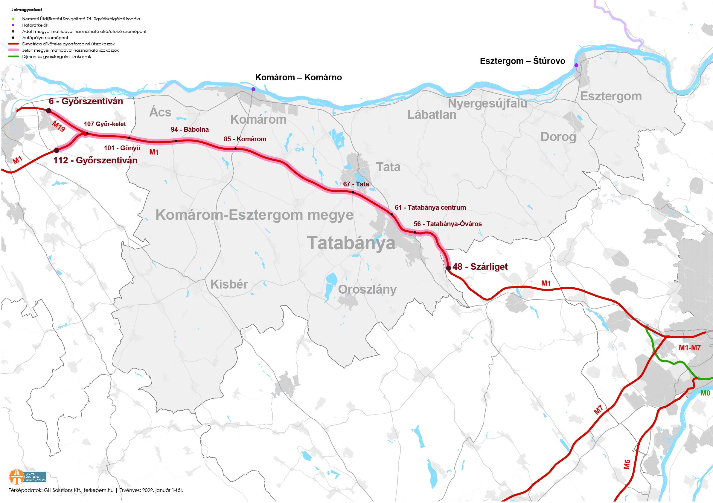 Komárom-Esztergom megye fizetős utak