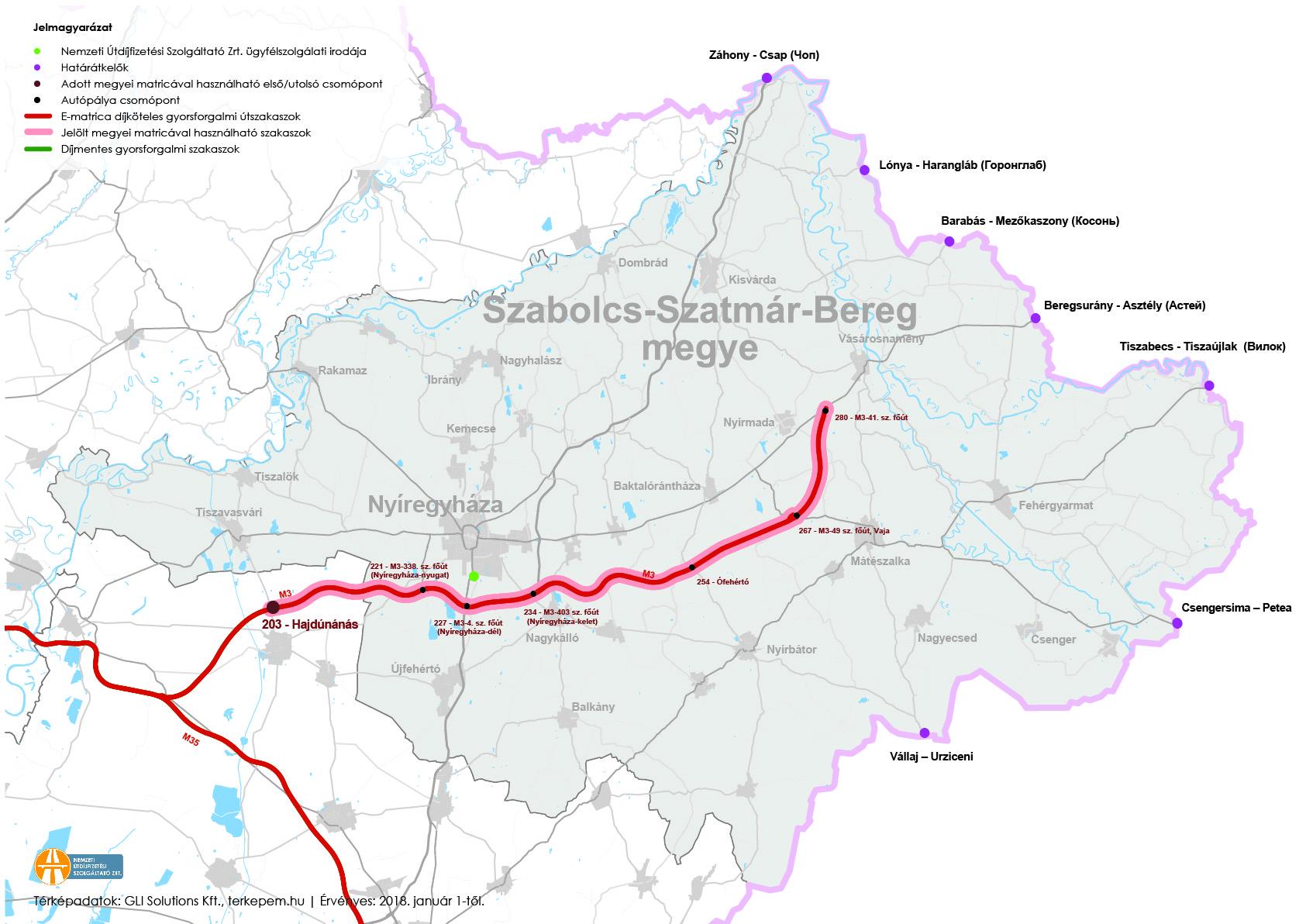 Szabolcs-Szatmár-Bereg megye fizetős utak