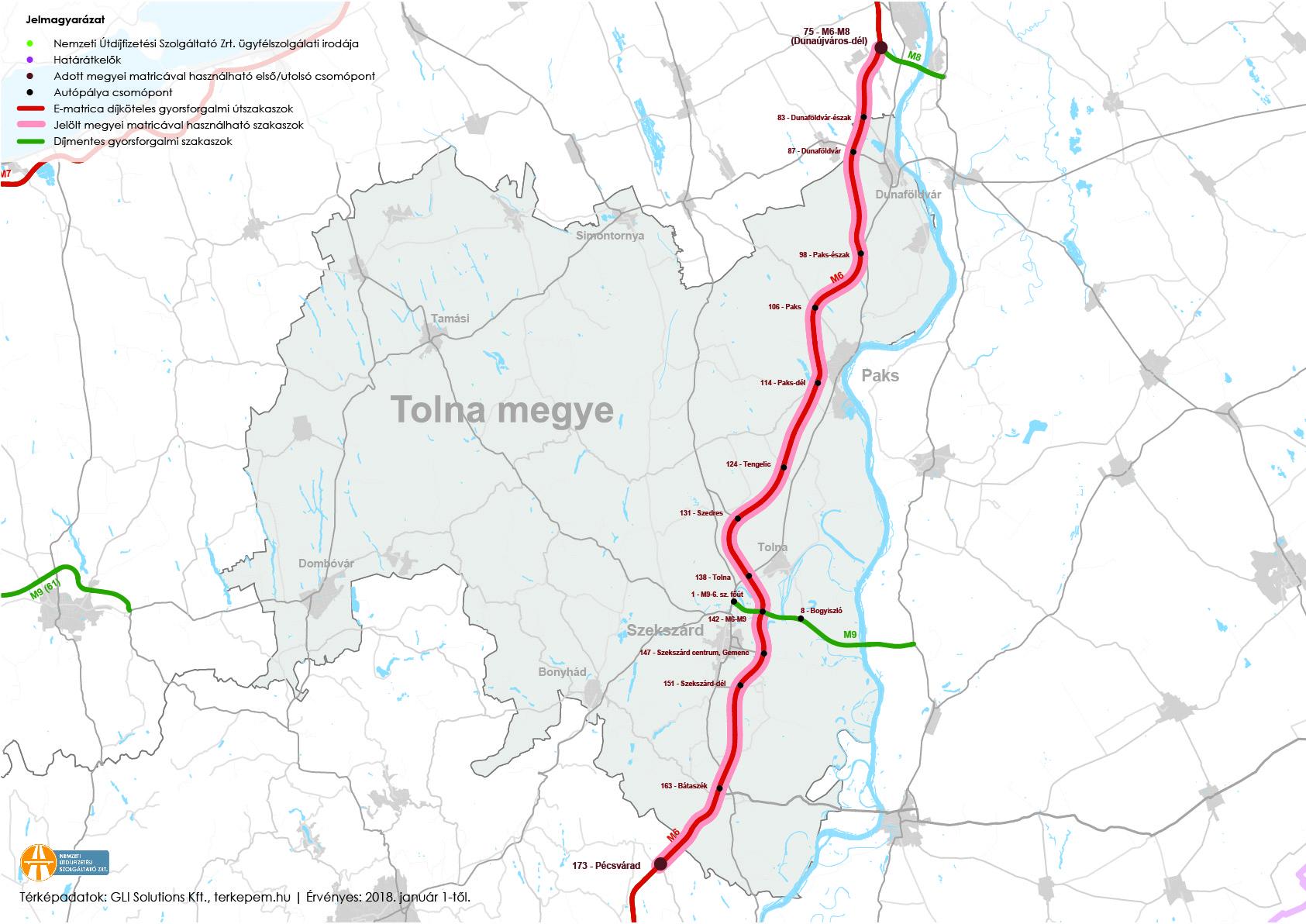 Tolna megye fizetős utak