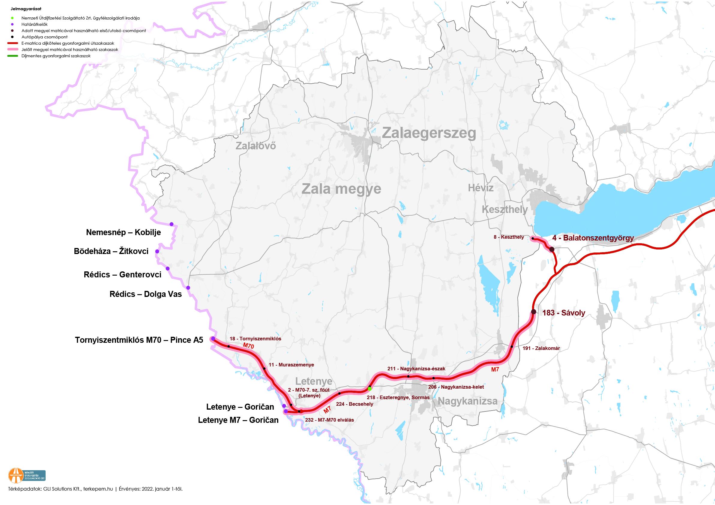 Zala megye fizetős utak