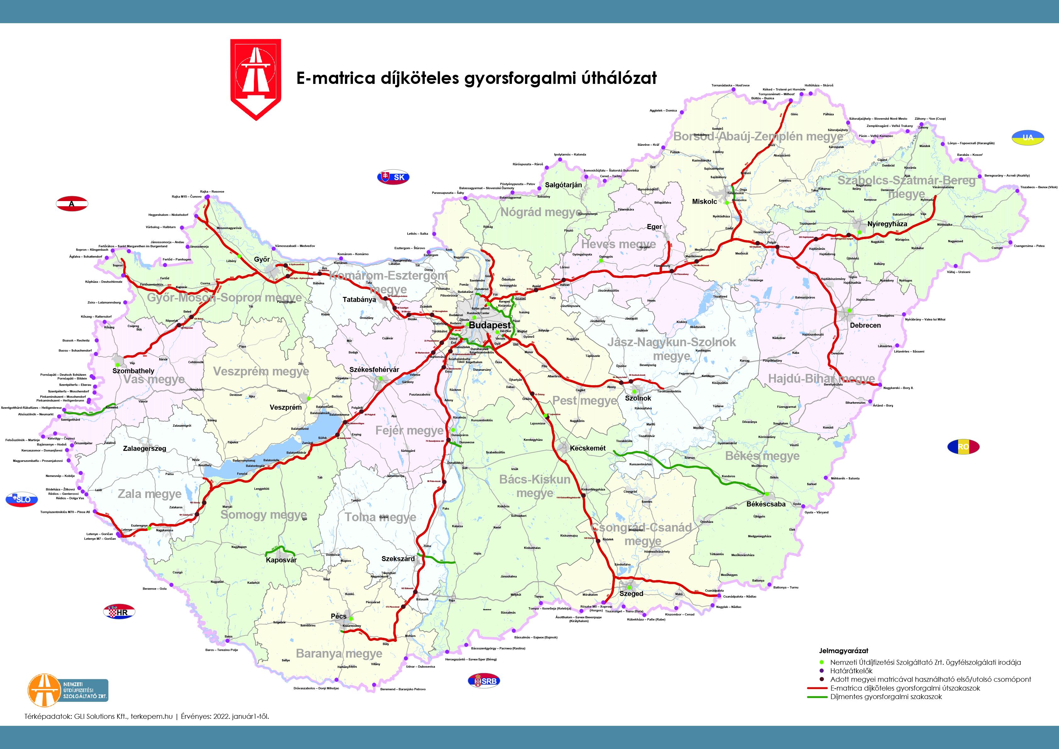Országos térkép a fizetős utakról