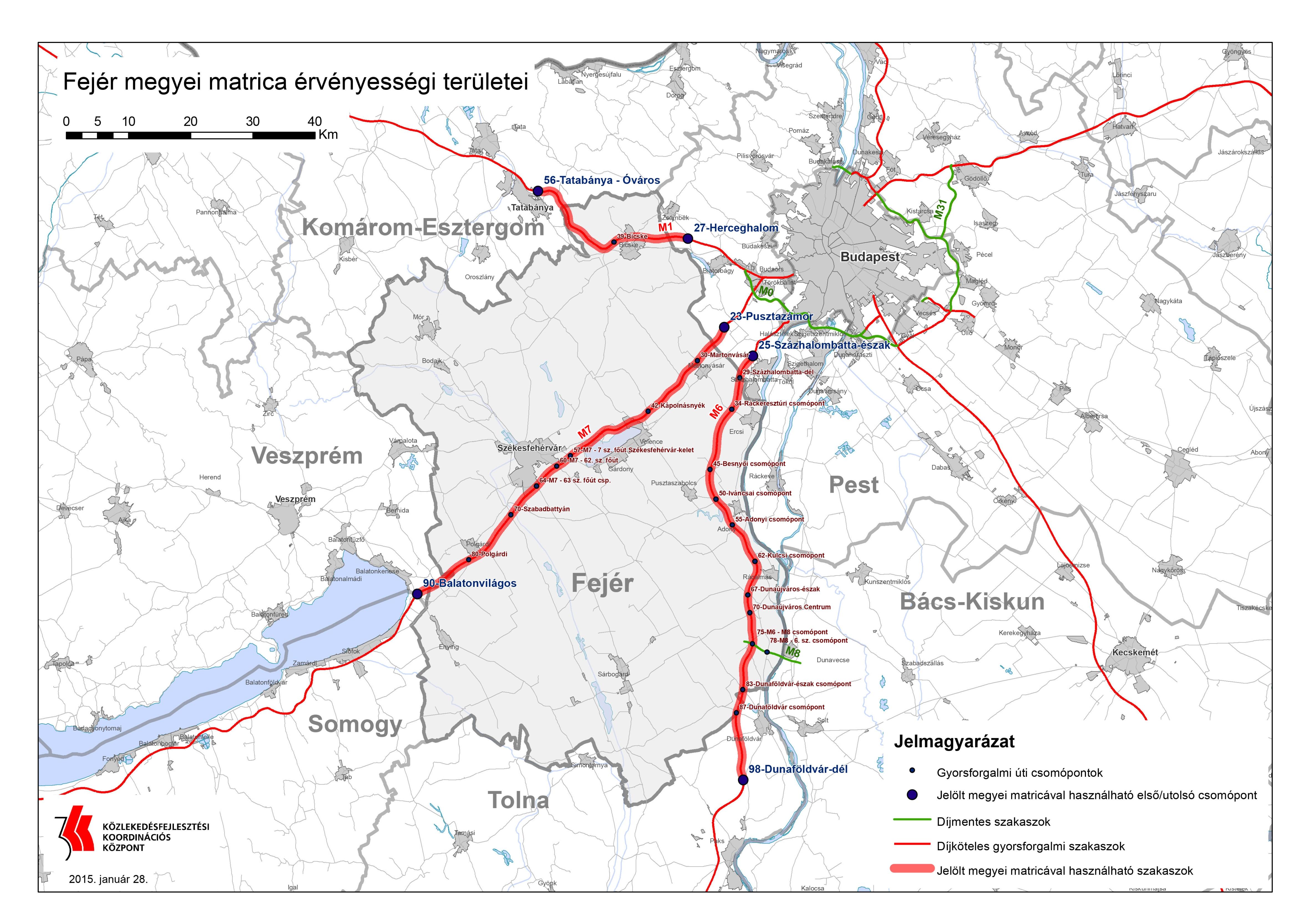 Fejér megyei fizetős utak (térkép)